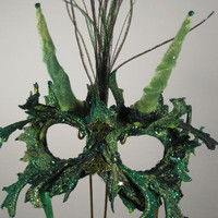 Greenman All Lace Masquerade Mask with horns