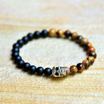 6mm Tiger's Eye Beads with Matte Black Glass Beads - Custom Fit Bracelet