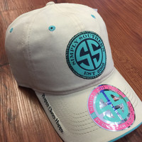 """Simply Southern """"Preppy Classy Happy"""" Hat- Ivory/Blue"""