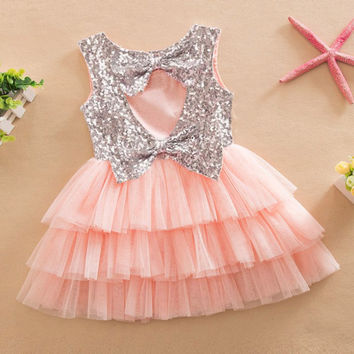 Baby Girl Summer Layered Tutu Dress Kids Sleeveless Hollow Out Back Bow Sequined Dresses Girls Clothes