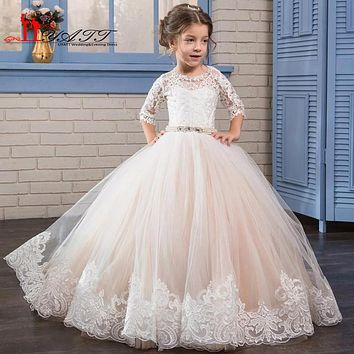 Champagne Ivory Flower Girls Dress For Weddings Long Tulle Ball Gown Lace Princess Girls Communion Dress with Train Prom Gowns