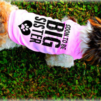 Custom Dog Tank Tops. Big Sister Dog Shirt. Small Pet Clothes. Gift for Expecting Mother.