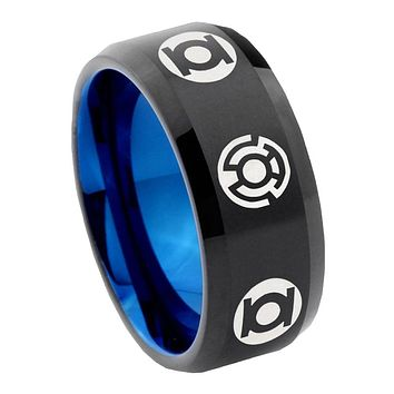 8mm Green Blue Lantern Bevel Tungsten Carbide Blue Mens Promise Ring