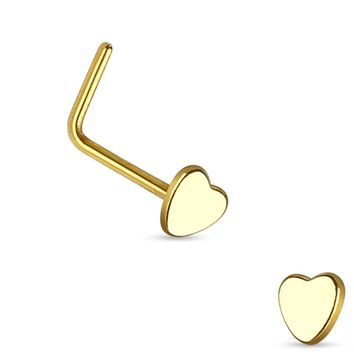 Gold Plated Heart L Bend Nose Stud Ring