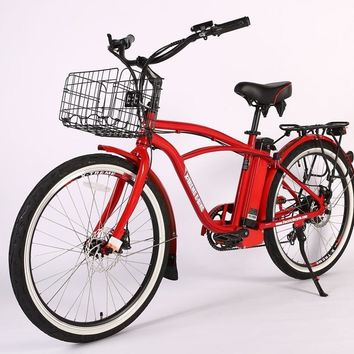 X-Treme Newport Elite Max 36 Volt Electric Beach Cruiser Bicycle Bike Metallic Red