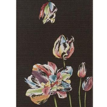An Armful of Multicolored Tulips Black  French Table Runner
