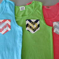 Monogrammed Tank Top Chevron Pocket COMFORT COLOR