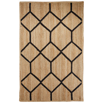 Naturals Tribal Pattern Natural/Black Jute Area Rug (2x3)