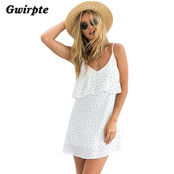 Off shoulder ruffle Dot summer dress women White strap chiffon beach dress Boho party sexy dresses