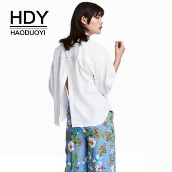 Autumn Solid White Women Sexy Casual Shirts Split Back Female Single Buttons Basic Blouses Lady Tops