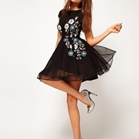 ASOS Skater Dress With Winter Floral Embellishment at asos.com