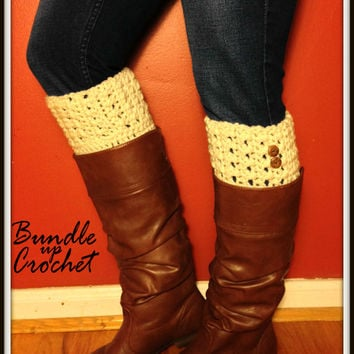 Crochet Boot Cuff Beige Leg Warmers Knit Boot Toppers Legwear Fashion for Women Teens Girls Multiple Colors
