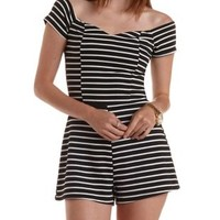 Black Combo Striped Off-the-Shoulder Romper by Charlotte Russe