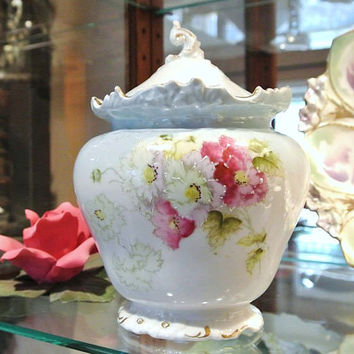 RS Prussia Biscuit Jar Early Years Art Nouveau Victorian Porcelain 1900s Handpainted Floral Flowers Fuschia Bouquet Baby Blue Background