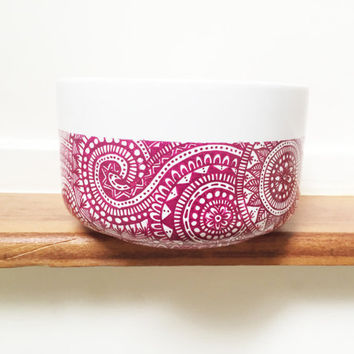 small bowl with mandala  design on it