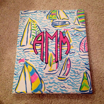 "Lilly Pulitzer Inspired ""You Gotta Regatta"" Monogrammed Canvas Painting"