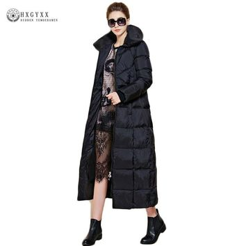 X-long Thick Warm Female Down Parka Leisure New Winter Women White Duck Jacket Black Slim Hooded Goose Coat Warm Outwear Oka749