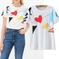 SIMPLE - Heart Popular Fashionable Summer Beach Holiday Cotton Floral White Round Necked Top T-shirt b2429
