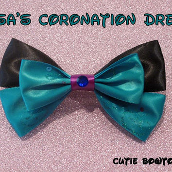 Elsa Coronation Dress Hair Bow Frozen Disney Inspired