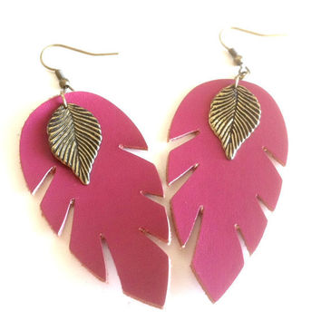 Pink Leaf Feather Earrings