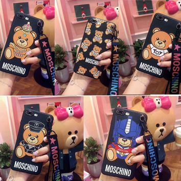 Soft Cut Moschino Bear Phone Case Cover For Apple iPhone 6 6s 6/7/8plus iphone X