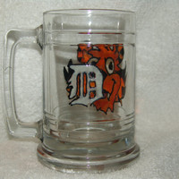 Tiger Beer Stein, Hand Painted Tiger, Detroit