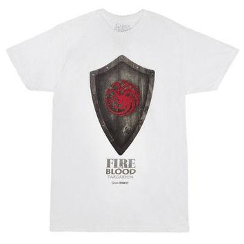 Game Of Thrones Targaryen Shield Licensed Adult Unisex T-Shirt - White