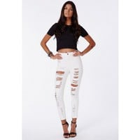 Brigitte Extreme Ripped Disco Fit Skinny Jeans Off White - Jeans - Missguided
