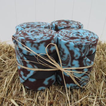 Set of 4 Polo Wraps for Horses- Blue and Brown Damask Print Fleece