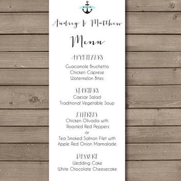 Printable Elegant Simple Anchor Menu Design: Choose Your Banner Color
