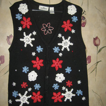 Ugly Christmas Sweater vest crochet snowflakes and poinsettias and beading Cardigan vest sz med