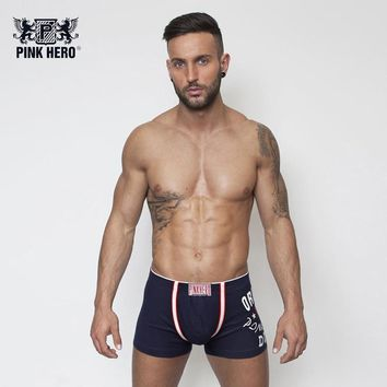 Pink Heroes Mens Boxers Soft Cotton Vertical Stripe Man Underwear Homme Thick Winter Shorts Male Cueca Pouch Fashion Boxershort