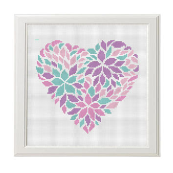 Flower heart  Cross Stitch Printable PDF Pattern Pink purple  Flower Embroidery Chart Floral Love Birthday DIY Gift Modern Counted Xstitch