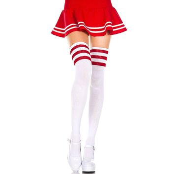 White and Red 3 Stripe Thigh High Socks