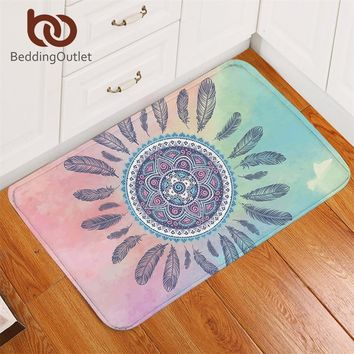 BeddingOutlet Mandala Bath Rugs Non-slip Pink and Blue Bathroom Carpet Bohemian Feathers Area Rug Mat for Living Room 40x60cm
