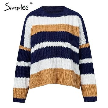 Multi-Colored Long-sleeve Pullover Sweater
