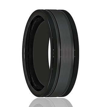 Mens Wedding Band - Tungsten Wedding Band - Black Tungsten Brushed Double Groove   - Tungsten Wedding Ring - Man Tungsten Ring - 8mm