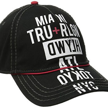 True Religion Men's Tour Cities Baseball Cap, Black, One Size