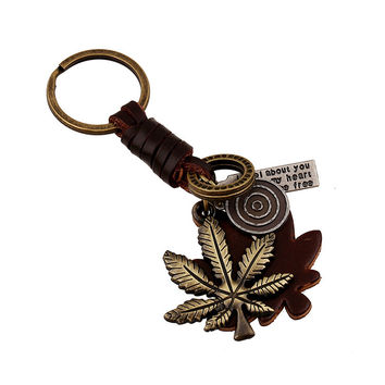 Trendy Functional Hot Sale Great Deal New Arrival Gift Creative Punk Accessory Alloy Leaf Leather Vintage Knit Men Keychain [6058334977]