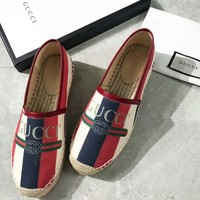 GUCCI 2018 counter new s ring logo canvas fisherman shoes F-OMDP-GD