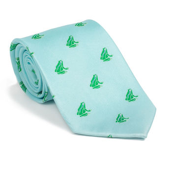 Frog Necktie - Light Blue, Printed Silk