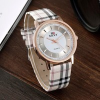 Women's Plaid Faux Leather Watch