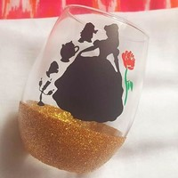 Disney Belle Wine Glass, Beauty And The Beast Glitter Glass