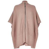 Blush pink ribbed zip poncho - kimonos - tops - women