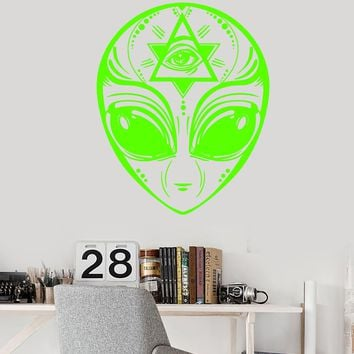 Vinyl Wall Decal UFO Alien Head Masonic Symbol Eye Of Providence Stickers Unique Gift (1975ig)