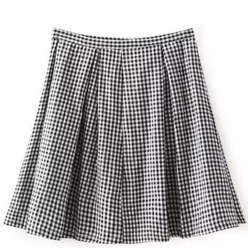 Black and White Plaid Pleated Skirt