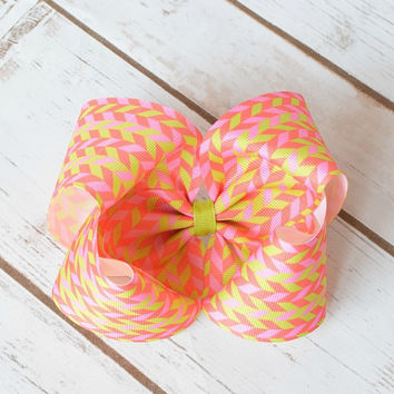 Hair Bows, Orange Hair Bow, Pink Hair Bow, Girls Hair Bows, Toddler Hair Bows, 5 Inch Bow, Large Hair Bow, Boutique Hair Bow, Hairbows, 500