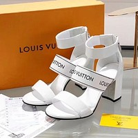 Louis Vuitton LV Summer New Popular Women Princess High Heels High-Heeled Shoes Sandals White I-ALS-XZ
