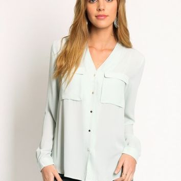 Sweet Mint Button-Up Blouse