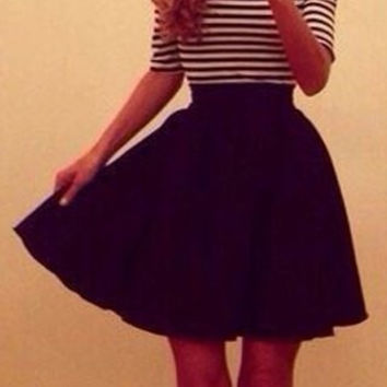 Black Striped Slash Collar Pleated Dress